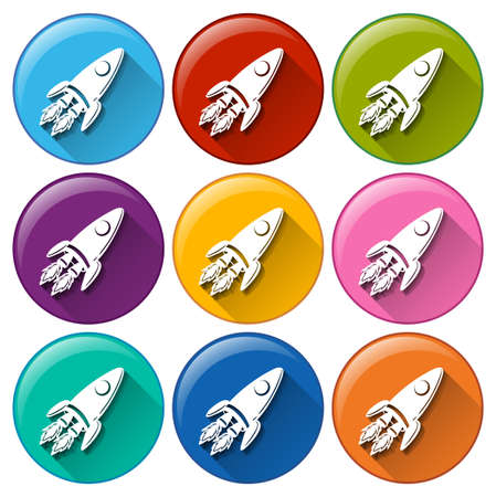 slower: Buttons with rockets on a white background