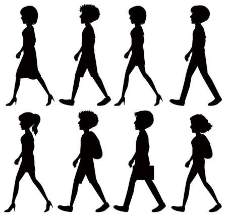 woman walk: Silhouette of people walking on a white background Illustration