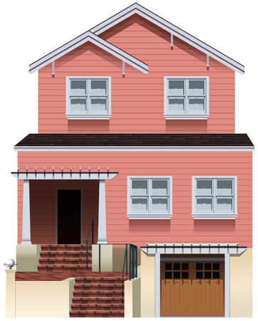 concrete stairs: A big pink house on a white background