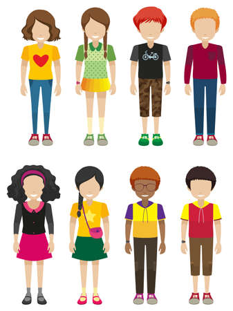 young group: Kids with no faces on a white background
