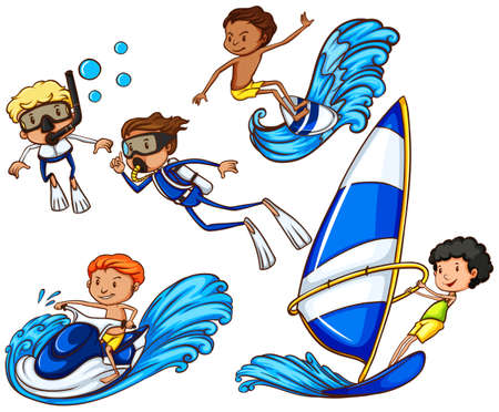 watersports: Coloured drawing of the kids enjoying the different watersports on a white background