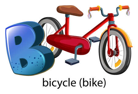 capitalized: A letter B for bicycle on a white background