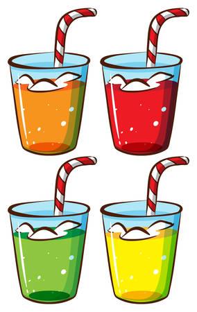 sip: Un bosquejo de los vasos con jugo en un fondo blanco