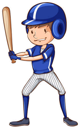 coloured: A coloured drawing of a baseball player with a blue uniform on a white background