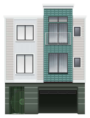 multistory: A multi-story commercial building on a white background