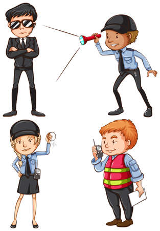 Colourful drawing of the security guards on a white background Illustration