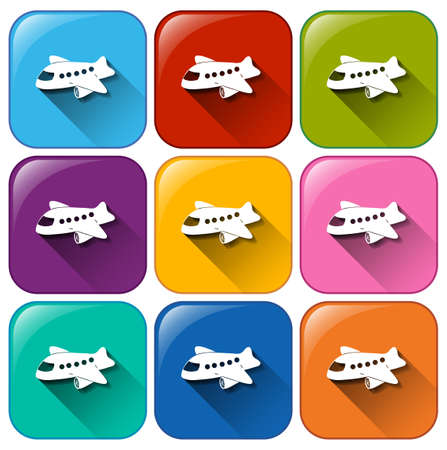 plane icon: Buttons with planes on a white background Illustration