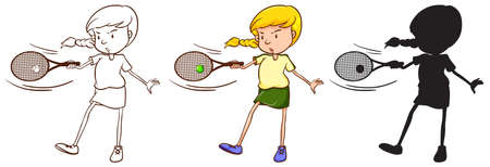 contestant: Three sketches of a girl playing tennis on a white background Illustration