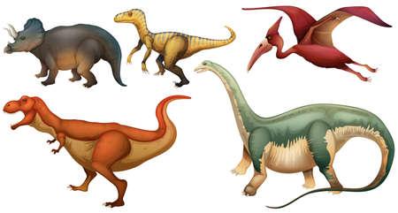 Eine Gruppe von Dinosauriern auf weißem Hintergrund Illustration