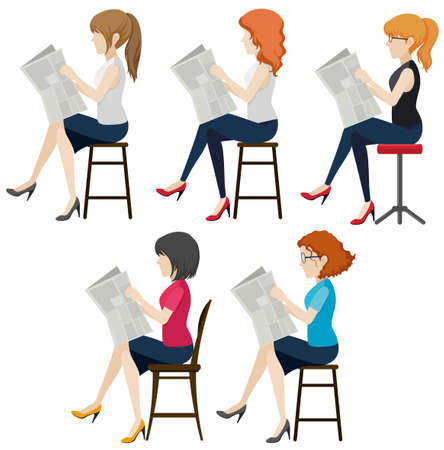 sideview: Faceless women reading on a white background