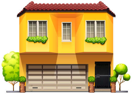 garage door: A big yellow house on a white background