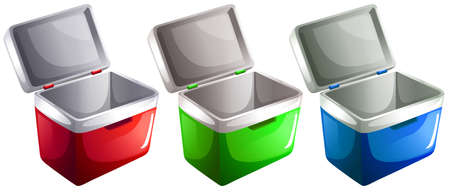 cooler boxes: Set of ice buckets on a white background