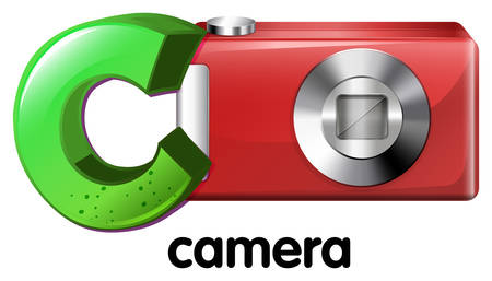capitalized: A letter C for camera on a white background