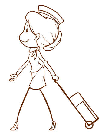 flight steward: A plain drawing of an air hostess on a white background Illustration