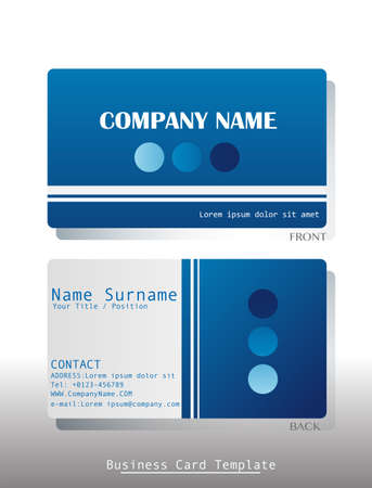 A blue business card template on a white background Vector