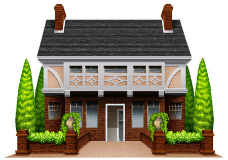 tress: A beautiful house on a white background