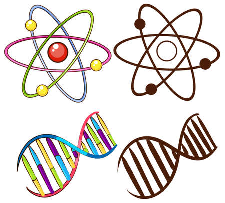 cartoon atom: DNA structures on a white background