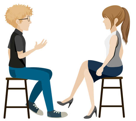 A girl and a boy talking without faces on a white background