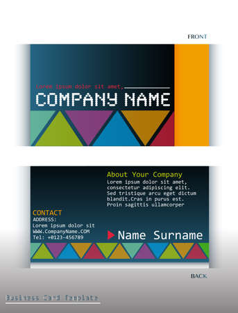contact details: A colourful business card on a white background