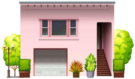 garage door: A modern pink house on a white background