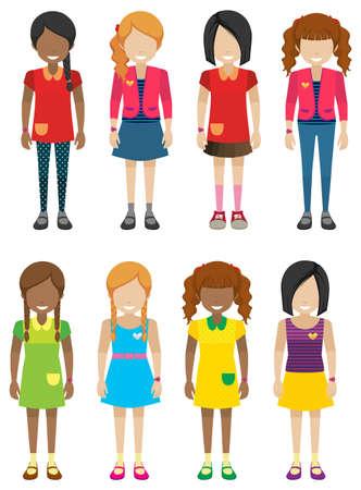 kleine meisjes: Gezichtsloze kleine meisjes zonder gezichten op een witte achtergrond Stock Illustratie