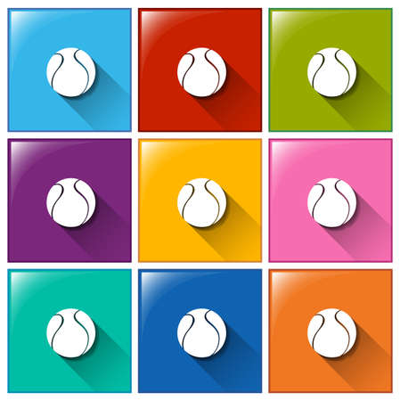 Square buttons with balls on a white background