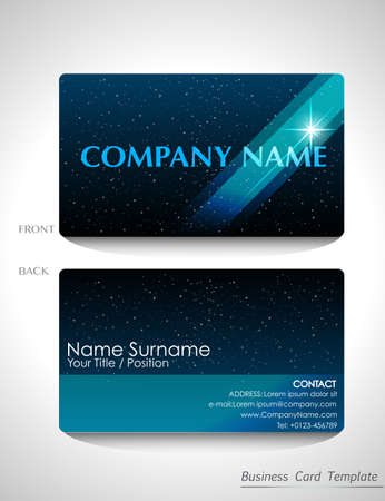 A sparkling blue business card design on a white background Vector
