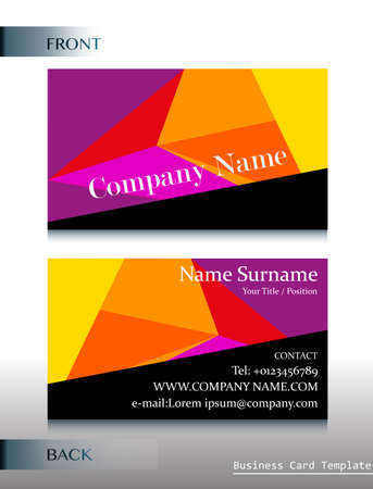 contact details: A front and back template of a business card on a white background