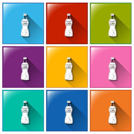 softdrink: Buttons with bottles of cola on a white background