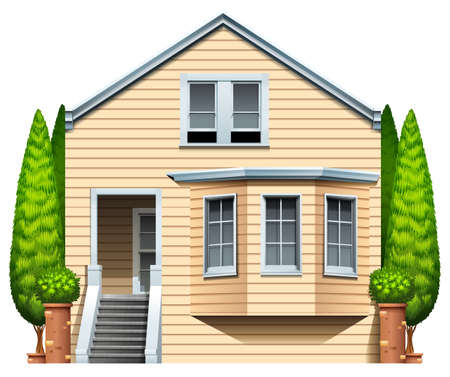 A house with houseplants on a white background Vector