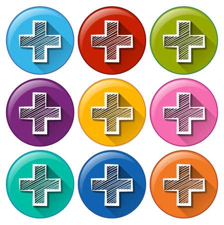 addition: boutons de cercle avec les op�ration d'addition sur un fond blanc Illustration