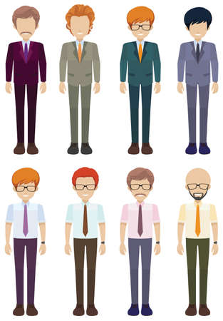 Eight faceless gentlemen on a white background Vector