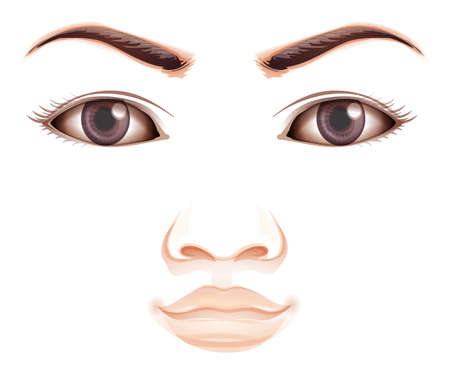 contact lens: A facial expression of a human on a white background Illustration
