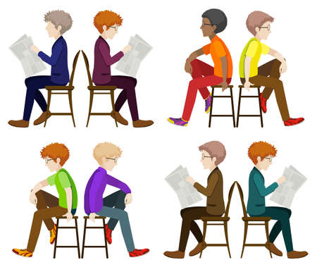 Faceless men sitting down on a white background Vector