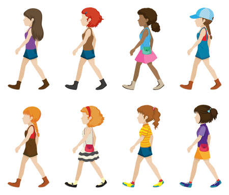 Teenagers without faces walking on a white background
