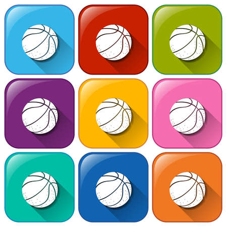 Colourful buttons with balls on a white background