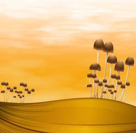stipe: A group of mushroom plants Illustration