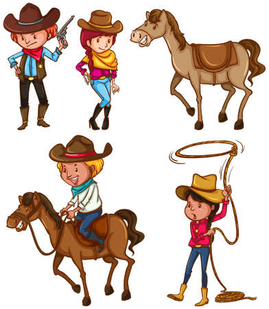 Coloured sketches of the male and female cowboys on a white background Vector