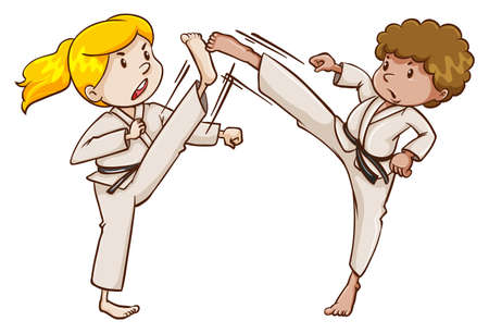 sportsmanship: Two martial arts experts on a white background