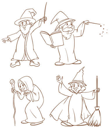 plain: Plain drawing of the four wizards on a white background