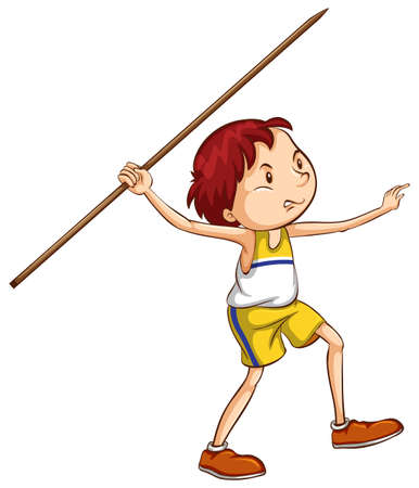 throwing: A drawing of a boy throwing a stick on a white background