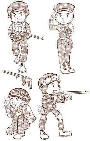 fallschirmj�ger: Plain Zeichnungen der Soldaten mit Waffen auf wei�em Hintergrund