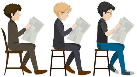 Three faceless men reading on a white background