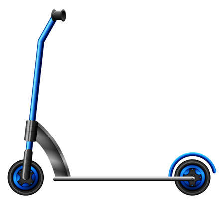 navigating: A blue scooter on a white background