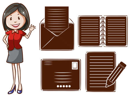 A drawing of an office girl with the different communication tools on a white background