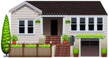 A house with decorative green plants on a white background Vector