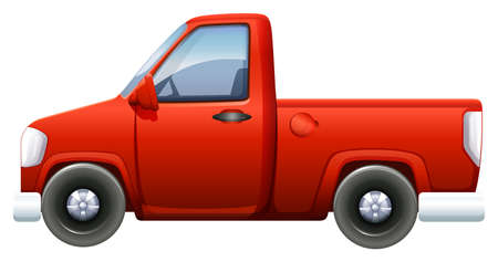 A red pickup vehicle on a white background