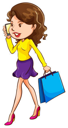 A girl using a mobile phone with a shopping bag on a white background Illustration