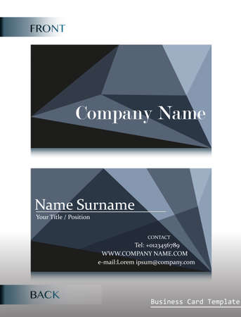 A front and back design of a calling card on a white background