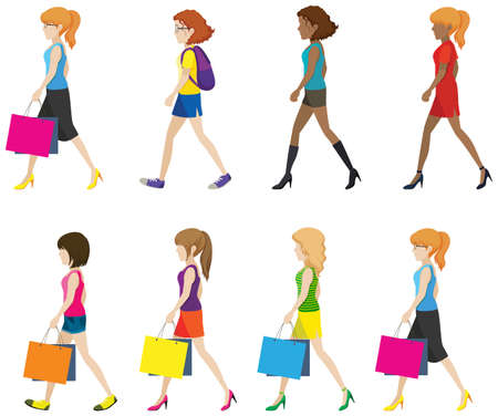 Faceless ladies walking in one direction on a white background